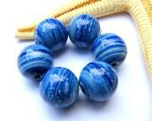 SMAUGGS handmade beadset (6pcs., 12mm), glass, jeansblue, hole 2mm