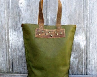 Rustic Modern Bucket Bag Purse with Dome Studs by Stacy Leigh