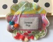 fabric scrap modern patchwork dream big lavender sachet ornament, flower shape applique dream big fabric hanging pillow sachet - No. 64
