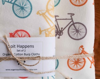 Bike Baby Blanket, Burp Cloth Gift Set; Bicycle Receiving Blanket, Burping Cloths; Organic Cotton Baby Gift for Cyclist New Parents; Bike It