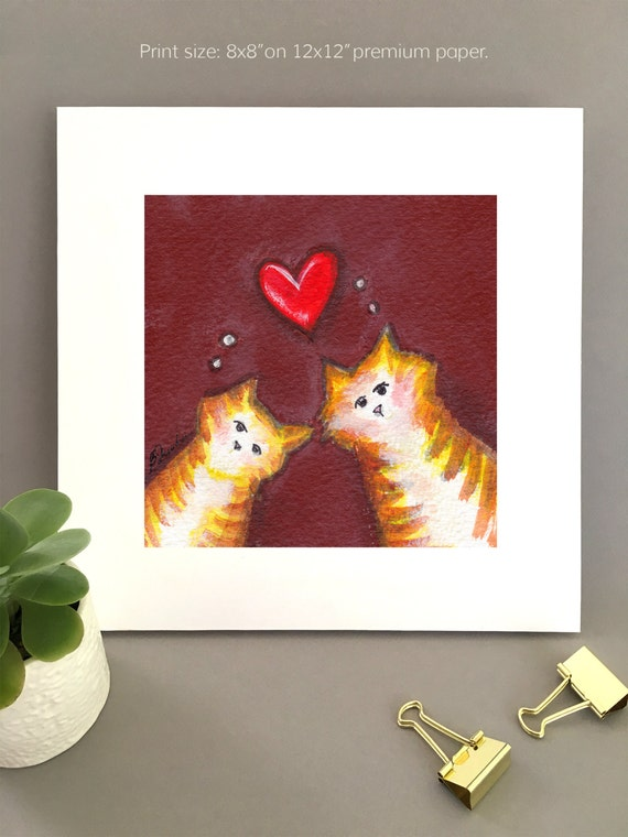 Anniversary gift for cat lovers, two orange tabbies, whimsical artwork, wall art for kitchen, cat lover gift ideas, unique art for wife