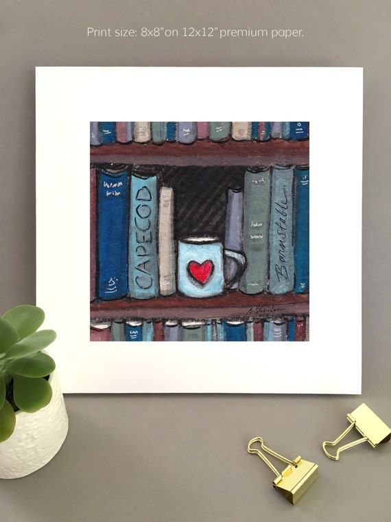 Art print for Book lover, Giclée print, book lover gift idea, unique art for wife, Anniversary gift, cape cod art charming artwork for her