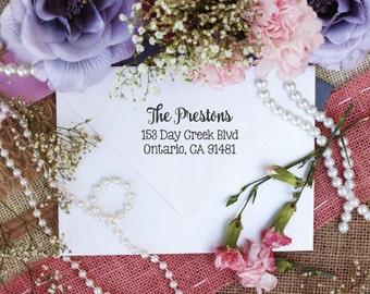 Self inking Cute Return Address Stamp, Cursive Curly Font Return Address Stamp, Cute Address Stamp, rubber stamp --10221-PI12-000