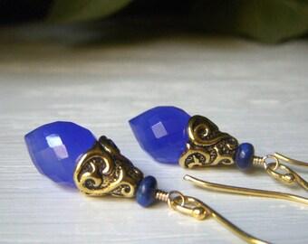 Cobalt Chalcedony Earrings, Vermeil Gold Earrings, Dewdrop Wirewrapped Gemstone Briolette Dangle, Dark Blue Gemstone, Cobalt Blue Earrings