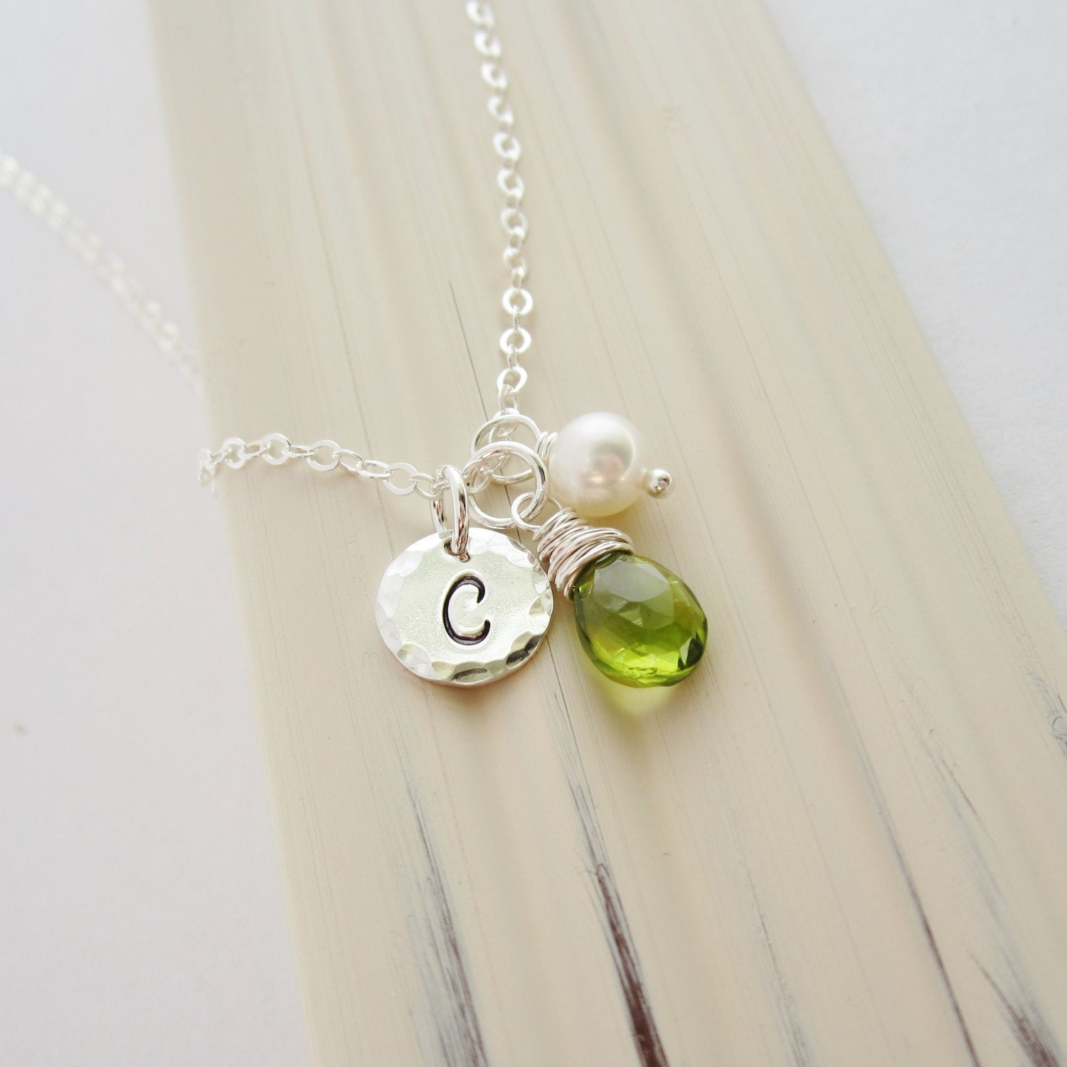 August Birthstone Necklace Personalized Green Peridot