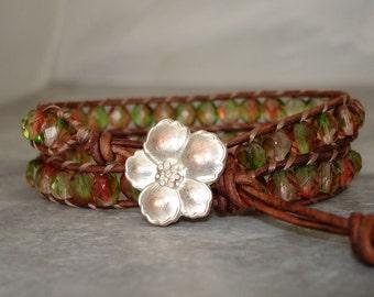 leather wrap bracelet, beaded leather wrap, Watermelon pink green, Czech glass beads, copper flower button, Two wrap adjustable,boho jewelry