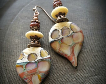 Lampwork Headpins, Lampwork Glass, Bone, Jasper, Rustic, Earthy, Organic, Copper, Beaded Earring