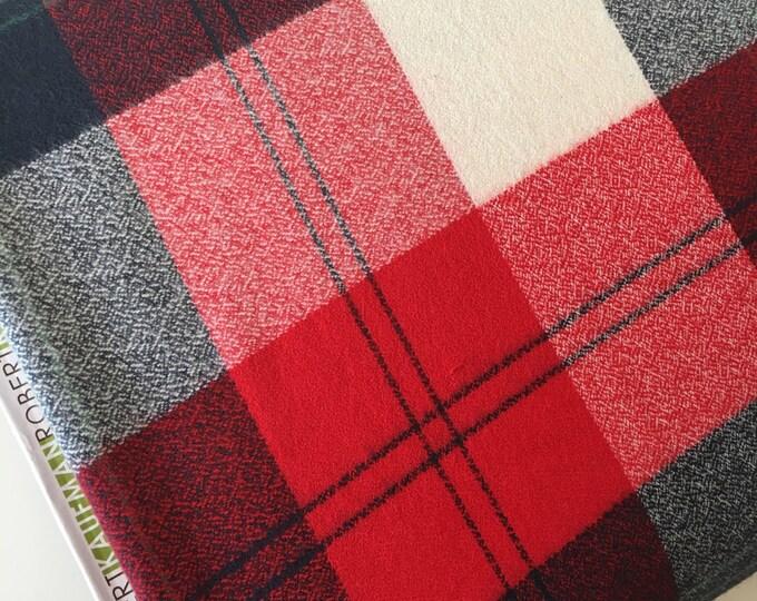 Plaid Flannel, Flannel fabric, Red Plaid, Plaid Blanket Throw fabric, Blue Plaid, Mammoth Flannel, Plaid in Americana 202, Choose the cut