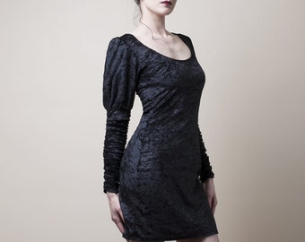 Crushed Velvet Dress with Long Sleeves-Made to order