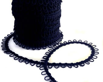 Navy Blue Adjacent Elastic Bridal Button Looping Trim - Ready to use Wedding Button Holes
