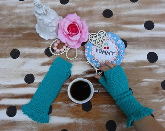 Women's Gloves - Handmade Crochet Fingerless Gloves in Teal