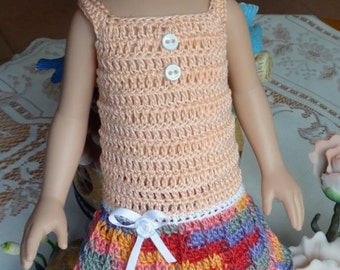 Crochet Tonner 13 14 inch Doll Betsy McCall 4 piece Dress Panty Shoes Peach Festive Colors Buttons Rose Bow