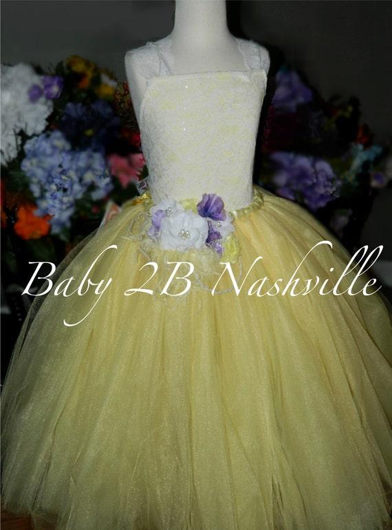Yellow Dress Spring Dress Lace Dress Lemon Yellow Flower Girl Dress Tulle Dress Baby Dress Toddler Tutu Dress Girls Dress Wedding Dress