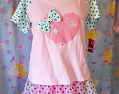 Polka dot raglan tee fairy kei 80s fashion baseball shirt pastel heart retro size medium M