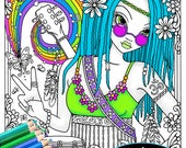 """Digital Download Coloring Page """"Good Vibes"""" Myka Jelina Art Butterfly Rainbow Musical Guitar Rainbow Flower Child Fairy"""