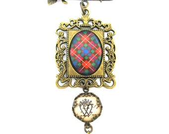 Scottish Tartan Jewelry - Ancient Romance Series - Fraser Tartan Romantic Filigree Frame Sculpted Rose Kilt Pin Brooch w/Luckenbooth Charm