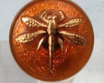 Czech Glass Button, Dragonfly, Iridescent Topaz Gold, 18mm With Pendant Converter C200