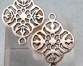 Filigree Connector, Antique Silver, 4 Pieces, AS419