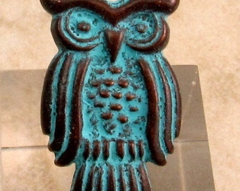 Greek Owl Pendant, Green Patina,  2 Pc. M280
