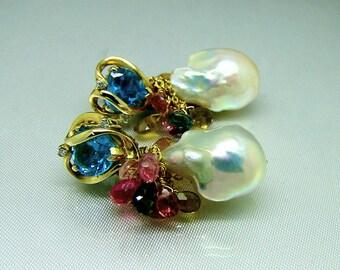 14k Gold 10k Gold Swiss Blue Topaz Cultured Baroque Pearl Tourmaline Gemstone Briolette Earrings