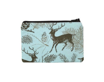 CHOOSE SIZE Deer in the Pine Zipper Pouch / Blue Doe Stag Pinecone Camera Bag on Blue / Make Up or Coin Pouch