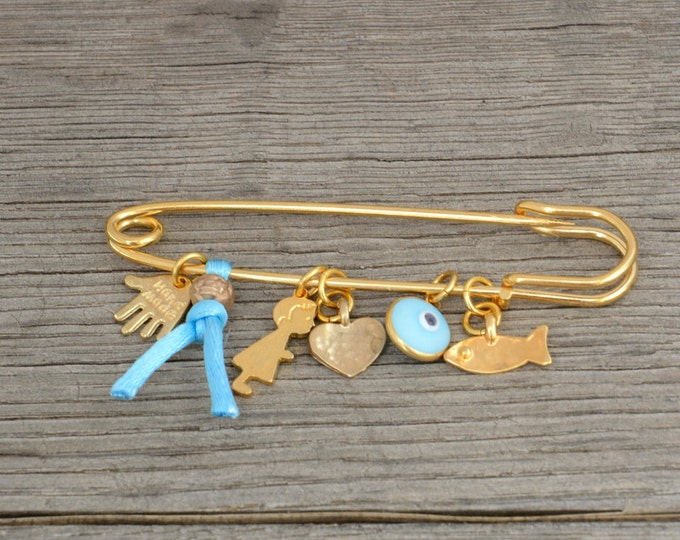 Baby Boy Brooch Pin with Protection Charms Golden Plated Keepsake for New Baby Boy
