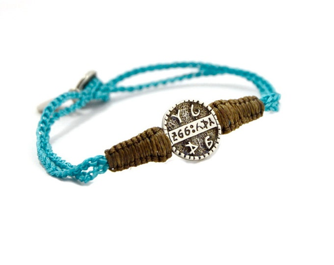 Men's Good Health King Solomon Sterling Silver Coin Amulet on Two Tone Macrame Bracelet