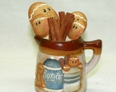 Gingerbread Decor Hand Painted Small Pitcher with Measuring Spoons