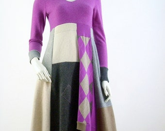 Cashmere Sweater Dress/Reconstructed Dress/V Neck/Altered Clothing/ Size Small/Argyle Fuschia and Grey/Brenda Abdullah