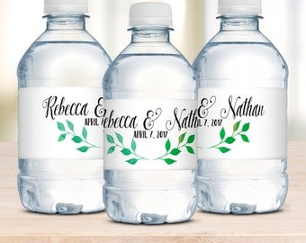 Wedding Water Bottle Labels, Waterproof Labels, Wedding Welcome Bags, Rustic Weddings, Unique Wedding Favor, Watercolor Wreath, DIY Brides