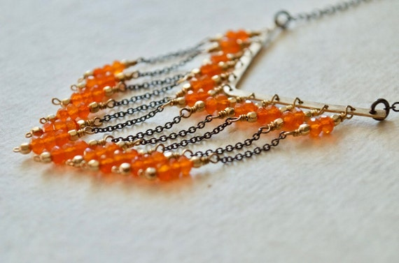 Long V Fringe Necklace - Carnelian, 14K Gold-Fill, Sterling Silver, Orange and Black