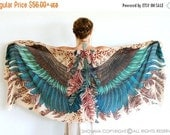 SALE Wings Scarf, Printed Scarf, Girlfriend Gift, Womens Scarf, Wife Gift, Statement Festival Scarf, Bohemian Feathers Shawl, Hand Painted S