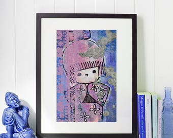 Kokeshi Love - Giclee Fine Art Print Mixed Media Painting