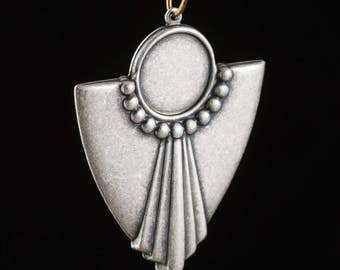 1 Loop Silver Ox Deco Swag Shield Pendant with 13mm Setting (4) pnd022K