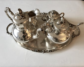 Wilhelm Ludwig 1935 Sterling Silver Five Piece Tea Set: Teapot Coffee Pot Lidded Sugar Cream Tray (4,300 grams)