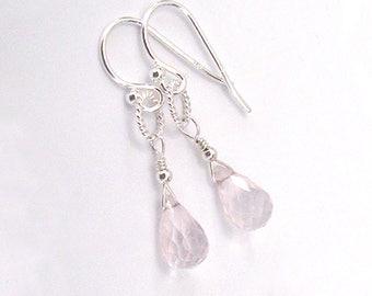Rose Quartz Gemstone Briolette Earrings, Sterling Silver Petite Drop Earrings Blush Pink
