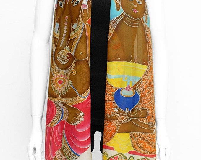 Hand painted Silk Scarf, Buddha Scarf, Hand made scarf, Ganesha scarf, Unique Scarf, Batik Handmade, Bamboo scarf, neck scarf, sacred scarf
