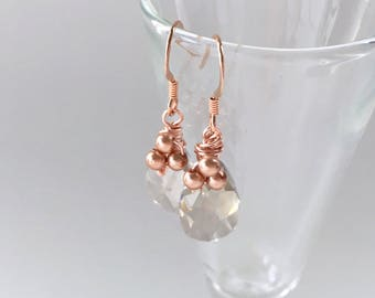 Bouquet, bridesmaids earrings in rose gold pearl and silver shade crystal, Free Shipping to USA