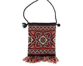 Vintage 60s Bag - 60s Shoulder Bag - Boho Shoulder Bag - Fringed Shoulder Bag - Carpet Bag - Woven Shoulder Bag - Red Cream Black Hippie Bag
