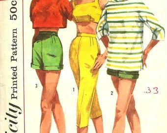 Cuffed Shorts Roll Collar Shirt, Bra and Pants Bust 35 Simplicity 2075 Vintage Sewing Pattern