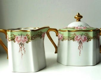 Gorgeous 1920s Cream & Sugar Set- Green and Pink Floral Design- Gilt Trim Creamer- Covered Sugar Bowl Gold Finial and Handles- Made in Japan