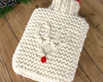 Reindeer Hot Water Bottle, Chunky Hot Water Bottle, 100% Wool Luxury Hot Water Bottle, Heat Pack, Christmas Gift for Wife, Christmas Bedroom