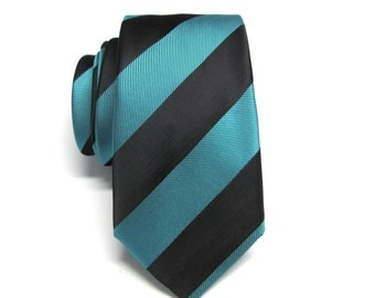 Mens Ties Skinny Tie. Black and Teal Blue Stripes Skinny Necktie