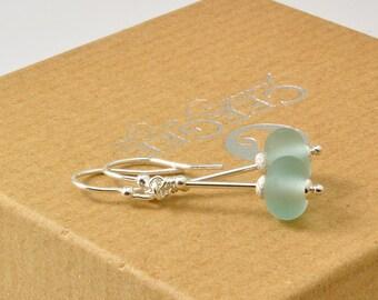 Sea Green Earrings | Etched Lampwork Glass Earrings in Sterling Silver | Glass Drop Earrings | Giftwrapped UK