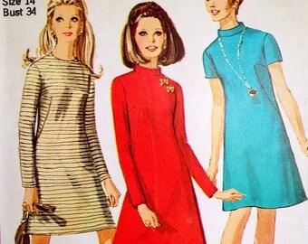 Vintage 1960s A Line Dress Pattern Simplicity 7195 Bust 34 Funnel Collar Mod Dress Pattern