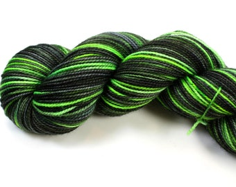 Green Nebula--hand dyed sock yarn, 2ply merino and nylon, (400yds/100gm)
