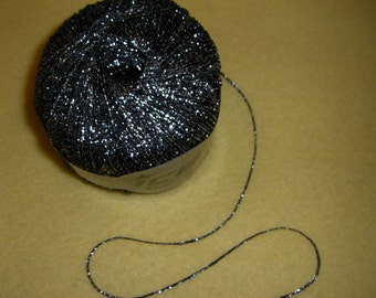 Black and Silver Chain Metallic Yarn by Ice Yarns, one skein novelty yarn, fine sport weight, 180 m