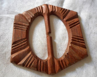 VINTAGE Carved Wood Slide Belt Buckle