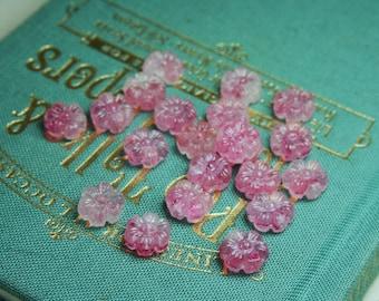 Vintage Pink Glass Marbled Flower Beads 8mm - 21 PCS.