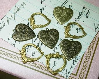 Vintage Heart Stampings/Pendants Lot of 8 PCS.